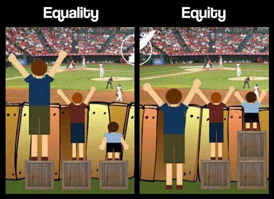 The problem with that equity vs. equality graphic you're using ...