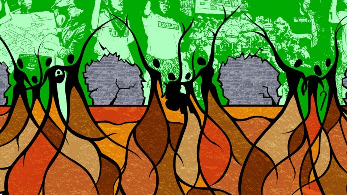 Piece of FLDC logo featuring people with roots in the ground breaking through a wall