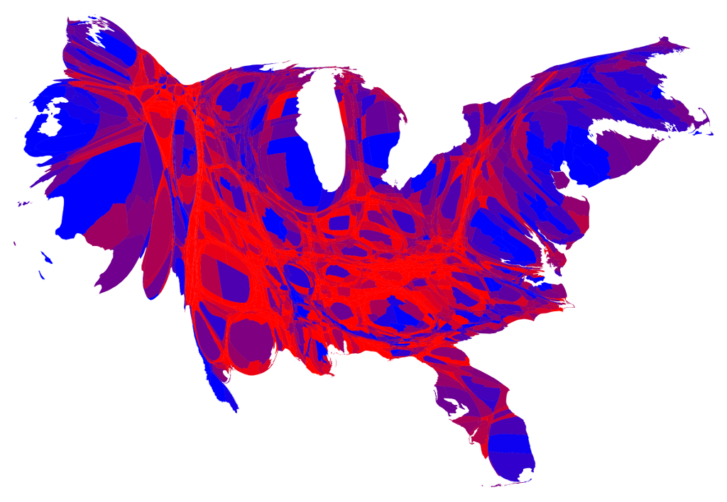 Cartographic map of US election