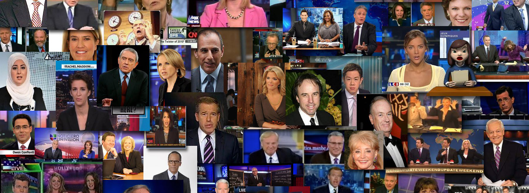 Collage of talking heads from news shows